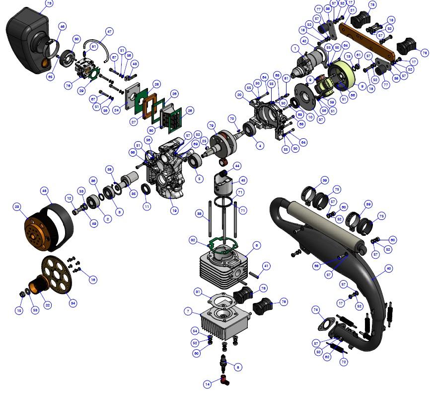 Zestawienie części JR180 - elektrostarter